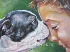 """A Boston Terrier Dog art portrait print of an LA Shepard painting 12x16"""". Here's a wonderful tribute to your best friend and favorite breed- the Boston Terrier! from an original painting by L.A.Shepard, whose unique, beautiful work has been collected around the world. Your print will be individually signed under the image by the artist, and initialed on the image. Copyright text is for display purposes only and will not appear on your artwork. The image is 12x16 inches and is printed on..."""