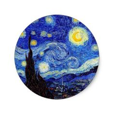 A Starry Night Inspired Van Gogh Classic Products Classic Round Sticker - unusual diy cyo customize special gift Vinyl Record Art, Vinyl Art, Round Stickers, Cute Stickers, Van Gogh Tattoo, Arte Indie, Cd Art, Small Canvas Art, Jolie Photo