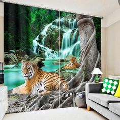 Tiger Blackout Window Curtains For kids Living room Bedding room Office Curtain Drapes Cortinas para sala Block Out Curtains, 3d Curtains, Printed Curtains, Window Drapes, Kids Living Rooms, Living Room Windows, Blackout Blinds, Blackout Windows, Animal Print Curtains