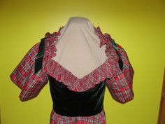 Victor Castor Plaid Taffeta and Velvet Dress