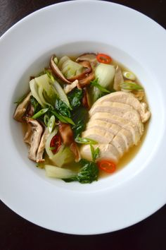 Poached Chicken with Bok Choy in Ginger Broth from the Martha Stewart Living Clean Slate Cookbook