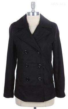 Kelly Brett Boutique: Women's Online Clothing Boutique - Double Breasted Peacoat Jacket Black, $34.00 (http://www.kellybrettboutique.com/double-breasted-peacoat-jacket-black/)
