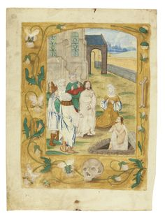 book of hours ||| sotheby's l16240lot8zx52en  THE RAISING OF LAZARUS, FULL-PAGE MINIATURE ON A LEAF FROM A BOOK OF HOURS, USE OF ROME, IN LATIN [HAINAUT (PERHAPS VALENCIENNES), C.1500-10]