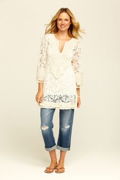 Tunic- long blouse or shirt that extends down over the pants or a skirt. It is a long upper garment that goes over a lower garment. Very cute too! As well as modest.