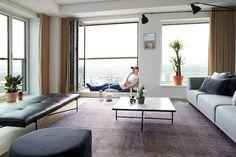 Emil Thorup did the interior design for this stunning apartment on floor of 'Bohrs Tårn' at Carlsberg Byen in Copenhagen. Scandinavian Apartment, Scandinavian Style, Danish Style, Danish Modern, Skyscraper, Tower, Sofa, Living Room, Interior Design