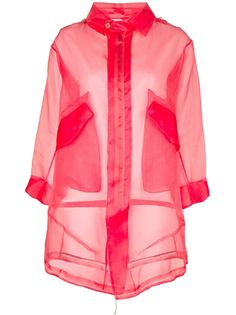 Pink silk sheer parka from Il Sistema Degli Oggetti x Wok featuring a pointed collar, attached hood, long sleeves with metal press stud fastening to the sleeves, zip fastening to the front, contrasting white cord tie to the waist and two pouch pockets to the front.