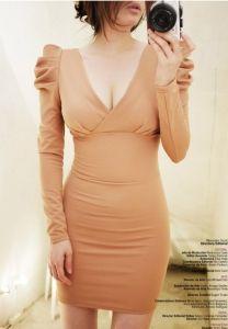 J73329 Sexy Cross V-neck Slim Tight Hip Dress