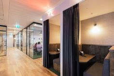 Semi-private work pods - be part of it or zone in on your work...  Industrial chic makes an indulgent co-working space at WeWork in London | Creative Boom