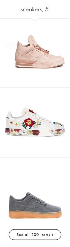 """sneakers, 5."" by theimanimo ❤ liked on Polyvore featuring shoes, sneakers, neutral, high-top sneakers, leather trainers, leather hi top sneakers, real leather shoes, high top shoes, white and floral print sneakers"