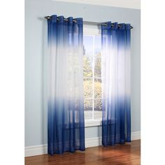 Ombre Semi Sheer Two-tone Curtain Panel ($35) ❤ liked on Polyvore featuring home, home decor, window treatments, curtains, ombre window treatments, ombre curtains, dip dye curtains, grommet top panels and grommet top curtains