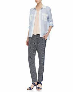 Dalia Two-Tone Dobby Blouse, Carmen Cap-Sleeve Slub Tee & Juna Printed Side-Stripe Pants by MARC by Marc Jacobs at Neiman Marcus.
