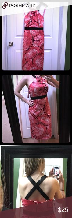NWT Merona Collection Dress Size 2 NWT Merona Collection pink with light pink/white/black design semi formal-ish halter dress. Cute criss cross straps in back. A tad big on me, I'm a 0/XS/S.  does not have  stretch as it is made of polyester. Merona Dresses