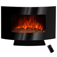 "Found it at Wayfair - 36"" Freestanding Curved Glass Electric Fireplace with LED Backlight"