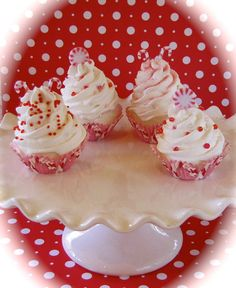 Fake Cupcake Holiday Candy Cane Mini Cupcake Ornament