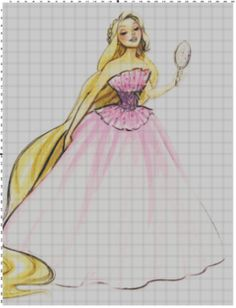 Disney Designer Princess Doll Rapunzel (Tangled) Cross Stitch Pattern PDF (Pattern Only). $5.00, via Etsy.