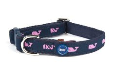 We love this fun navy and pink whale collar from Mascot #happydog #dogstyle