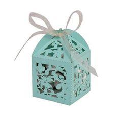 Tiffany Blue Magnolia Laser Cut Wedding Favor Boxes