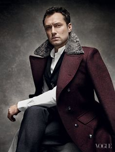 Jude Law plays against type as Anna's stern husband, Karenin. Rag & Bone coat and vest. Yohji Yamamoto shirt. Dolce & Gabbana trousers.  Dress like this for fall men!