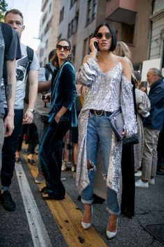 Street style at Milan Fashion Week Spring 2017 #GlitterFashion