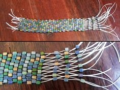 DIY – Beaded Stretch Cuff Bracelet - would be cool with gold beads