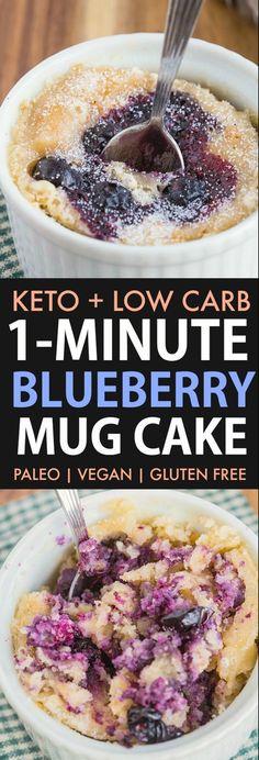 A light, fluffy and moist Keto Blueberry Mug Cake ready in ONE minute! NO grains. A light, fluffy and moist Keto Blueberry Mug Cake ready in ONE minute! NO grains and no dairy, this Blueberry Muffin In A Mug Recipe, Blue Berry Muffins, Blueberry Cake, Keto Blueberry Muffins, Cake Mug, Keto Mug Cake, Vegan Keto, Keto Desserts, Best Low Carb Recipes