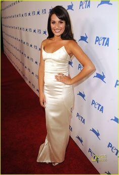 Lea Michele: Jose Daran dress, Tiffany & Co. jewels, Jimmy Choo shoes.