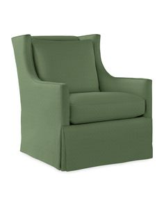 The traditional wingback goes modern with a lower back and slimmer silhouette. Sloping arms and a tailored skirt bring that easy elegance we love, but it's really the smooth swivel and glide that make this chair indispensable (for naptime, bedtime, storytime...). We think the nursery just got cozier.