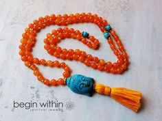 Joy & Happiness Orange Jade Mala Beads by BeginWithinJewelry