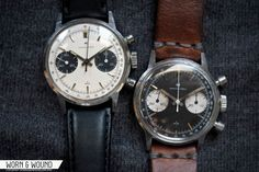 """WORN & WOUND: Affordable Vintage - Hamilton Valjoux 7730 Chronographs, aka """"Poor Man's Heuer""""---In 1969, Hamilton decided to close up shop in Lancaster and move their entire watchmaking effort to Buren's facilities in Switzerland. From 1969 until 1972, all Hamilton watches were made in Switzerland by Buren and its partners, which is how the watches we're looking at today – Hamilton watches made in Switzerland by Heuer – came to be."""