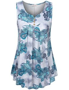 Women's Paisley Printed Pleated Front Sleeveless Summer Tunic Tank - Blue Flower - Clothing, Tops & Tees, Tunics Source by clothes tops Long Tunic Dress, Sleeveless Cardigan, Tunic Blouse, Looks Plus Size, Plus Size Tops, Mode Outfits, Fall Outfits, Sexy Outfits, Fashion Outfits