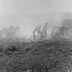 A British 18 pounder crew in action. This weapon has a much higher rate of fire and uses explosive and shrapnel shells