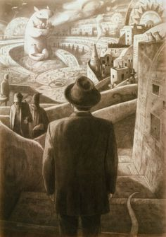 Shaun Tan at his best ,shame I don't know the name of this beauty. Again and I think Tan has a knack for this but again this leaves me wanting more .More answers . Who is the man ? Where on earth is he? Is this real or a dream ? .