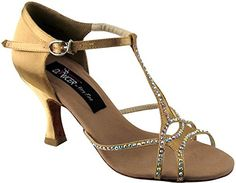 VFS COMPETITIVE DANCER SERIES 2804 WITH CRYSTALS 25 OR 3 HEEL 2 COLORS BLACK SATIN TAN SATIN 63 TAN SATIN -- To view further for this item, visit the image link.(This is an Amazon affiliate link and I receive a commission for the sales)