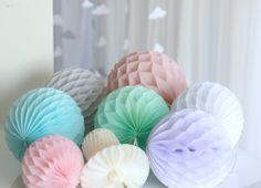 "Hand made  tissue paper HONEYCOMB BALLS - 60 colors - 14"" / 35cm 12"" / 30 CM 10'/25cm 8""/ 20CM 6"" / 15CM  4 ""/10cm"