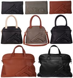 Honestly, how sick are these weapon embossed Guardian Angel bags from Vlieger & Vandam designed by husband and wife duo Hein van Dam and Carolien Vlieger? Packin' heat . . . bang bang