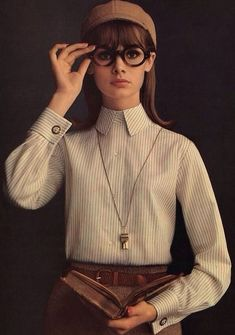 Only Jean Shrimpton could look this good in a business shirt blouse-60s