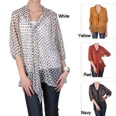 @Overstock - Polka dot print highlights this contemporary plus size top by Journee Collection. Featuring a tie detail on the V neckline, this stylish short sleeve top is designed with semi-sheer chiffon fabric.http://www.overstock.com/Clothing-Shoes/Journee-Collection-Womens-Contemporary-Plus-Bowtie-Chiffon-Top/6700669/product.html?CID=214117 $25.49