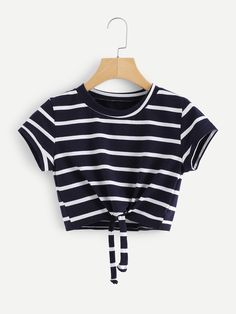 Knot Front Striped Crop Tee - Knot Front Striped Crop Tee Source by lea_weidenbach - Winter Dress Outfits, Crop Top Outfits, Crop Top Shirts, Cute Casual Outfits, Pretty Outfits, Stylish Outfits, Cute Girl Outfits, Crop Tee, Outfit Winter