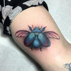 Beautiful Scarab Beetle done by apprentice Sam. To see more of Sam's work or to book an appointment follow the link.   #tattoo #tattoodesigns #apprentice #scarab #beetletattoo #colourtattoo