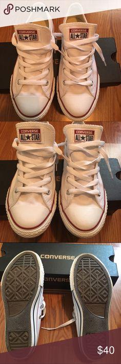 White converse shoes. White converse shoes with maroon & navy blue lines. Worn 3 times. Size 3 in kids. (Gradeschool) Converse Shoes Sneakers