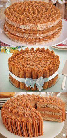 Bolo Churros #BoloChurros #BolodeChurros #Receitatodahora Brigadeiro Cake, Cake Boss, Dessert Recipes, Desserts, Fancy Cakes, Sweet Cakes, How Sweet Eats, Beautiful Cakes, Cake Decorating