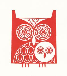 This print shows a mother owl and her fluffy little owlet. 'Owls' is designed in a decorative folk art style, in a bold red colour. Brainstorm, Red Owl, Link Art, Stamp Carving, Linoprint, Illustration, Owl Art, Tampons, Linocut Prints