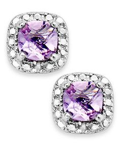 Victoria Townsend Sterling Silver Earrings, Amethyst (1-1/5 ct. t.w.) and Diamond Accent Cushion-Cut Stud Earrings - Diamonds - Jewelry & Wa...