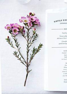 Flowers & menu at Kinfolk Magazine Copenhagen dinner. Styling Nathalie Schwer photographer Line Thit Klein