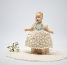 Miniature dress for Heidi Ott toddler doll, wearable baby doll clothes for 2.7 inches doll, Dollhouse miniature dress, mini doll outfit