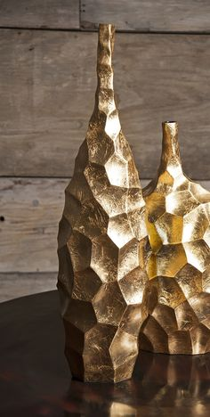 Valerie Tall Vase - The multi-faceted metallic gold lacquered surface of the Valerie vase catches the light and reflects glamour in any room.
