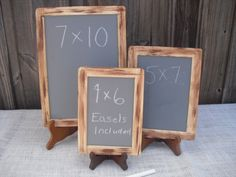 SET OF 3 Rustic Distressed Chalkboards for with EASELS for Signs and Table Numbers or Photo Props