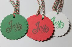 12pc Christmas Joy Gift Tags by ThePaperOwl13 on Etsy, $5.00
