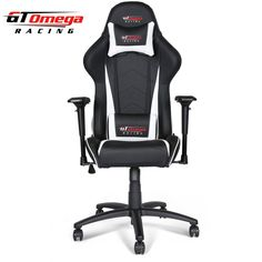 GT Omega PRO Racing Office Chair Black Next White Leather