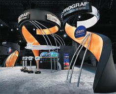 Cool kiosk design with curves and exposed metal; Tradeshow display; Stand design